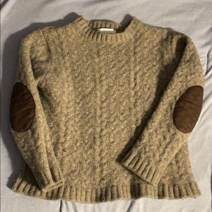Unisex Jacadi wool sweater with elbow patches 6A